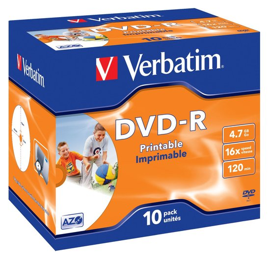 VERBATIM DVD-R 16x 10pk Printable Jewel case