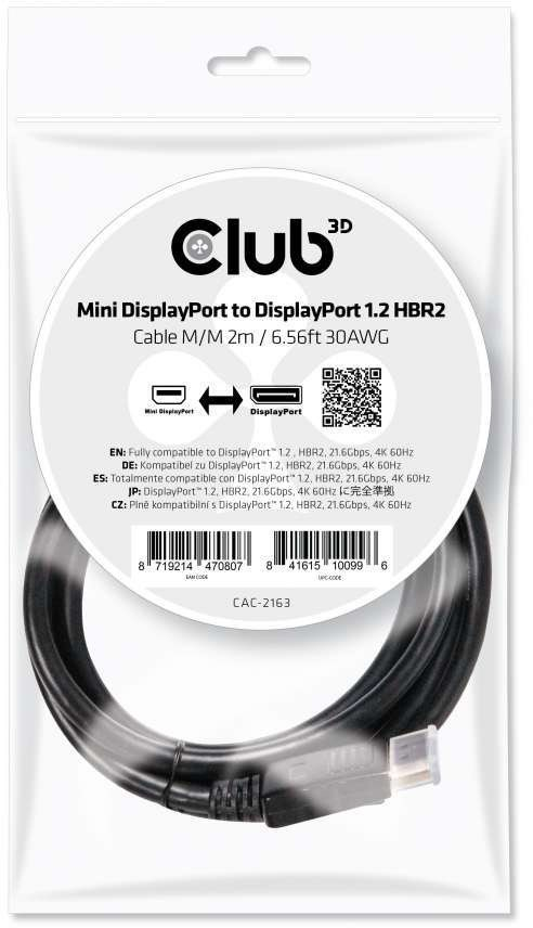 CLUB3D Mini DisplayPort to DisplayPort 1.2 M/M 2mr 4K 60Hz