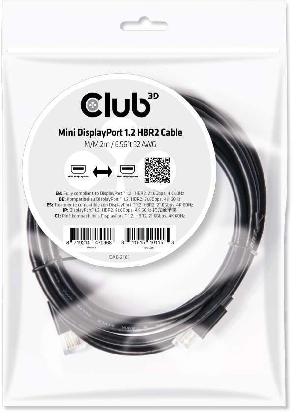 CLUB3D Mini DisplayPort 1.2 HBR2 Cable M/M 2m 4K60Hz