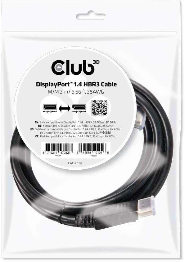 CLUB3D DisplayPort 1.4 HBR3 Cable 2m M/M 8K60Hz