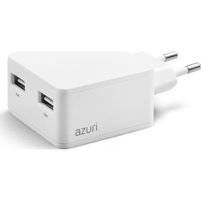 AZURI 100-240V home charger with phone base - 2 USB ports - 4.8Amp - wit