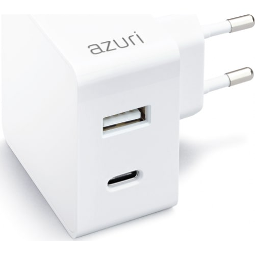 AZURI home charger with 1xUSB A port, 1xUSB-C port - 3A - wit