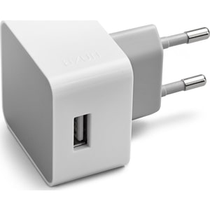 AZURI 100-240V home charger square - 1 USB port - wit - 2.4Amp